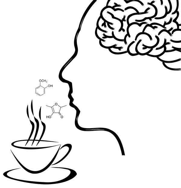 Sketched illustration of a person smelling coffee