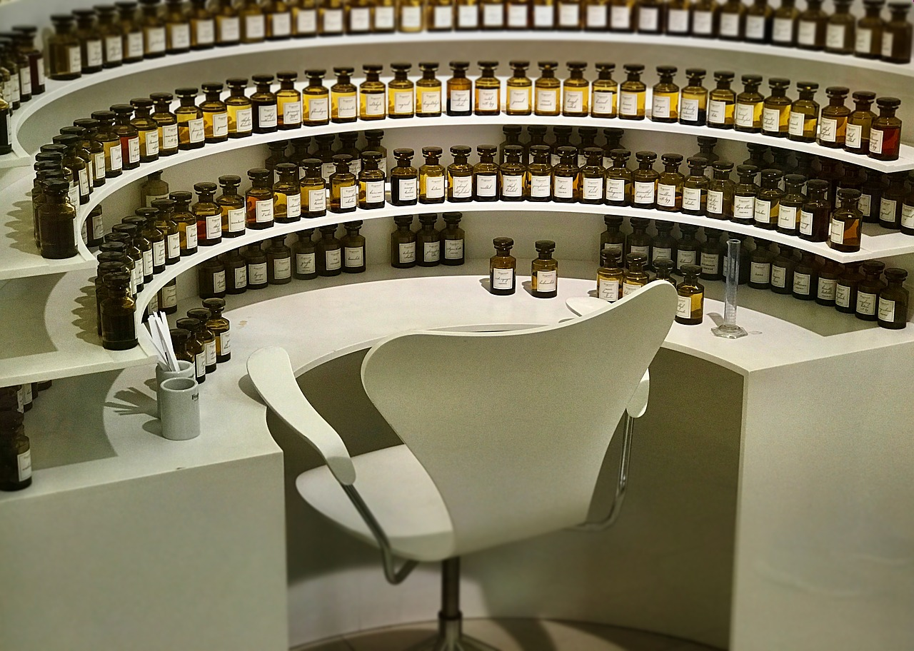 Photo of a perfumer's work station